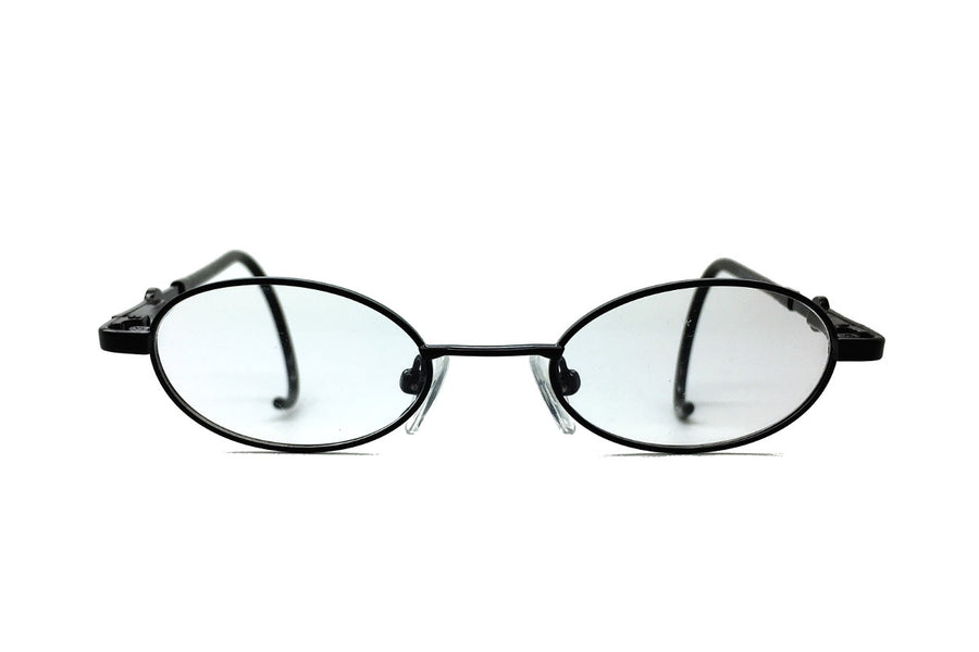 Carter children's glasses frames by Mr Foureyes in black metal, front shot