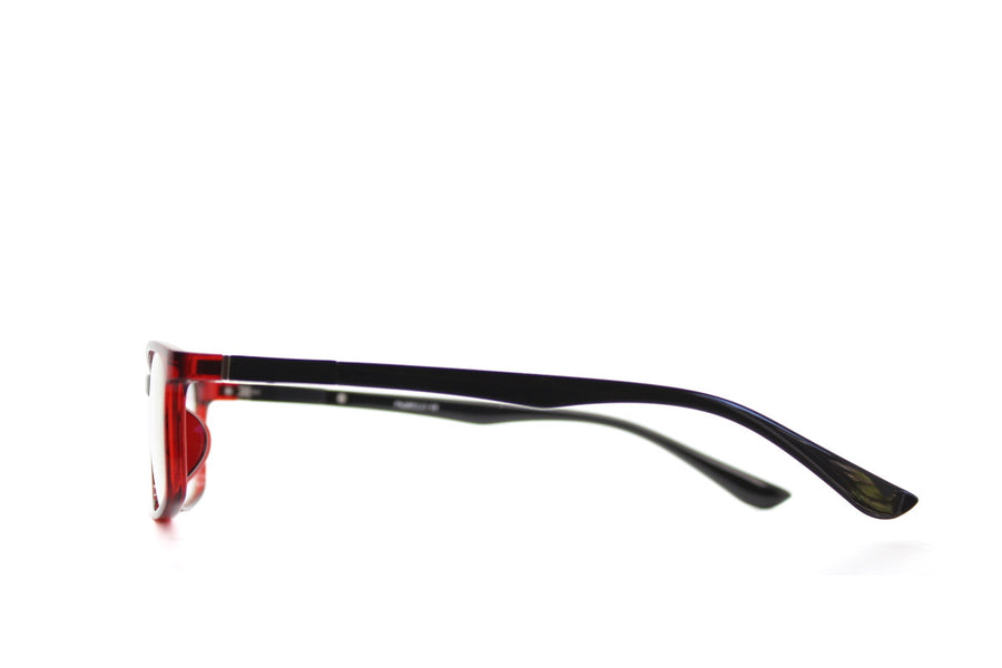 Charlie colourful red acetate glasses frames by Mr Foureyes, side shot