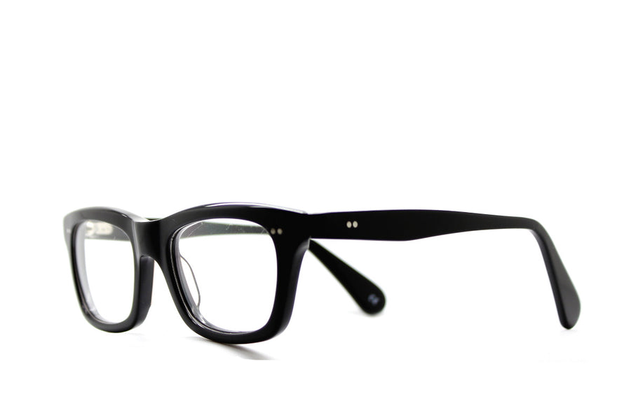 Solid black geek chic acetate glasses frames by Mr Foureyes, angle shot