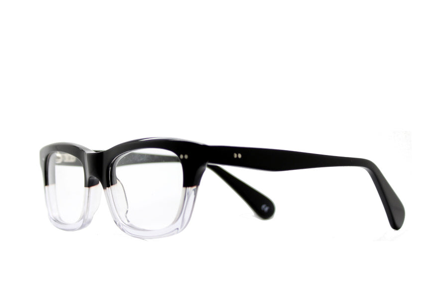 Bold black and clear geek chic acetate glasses frames by Mr Foureyes, angle shot