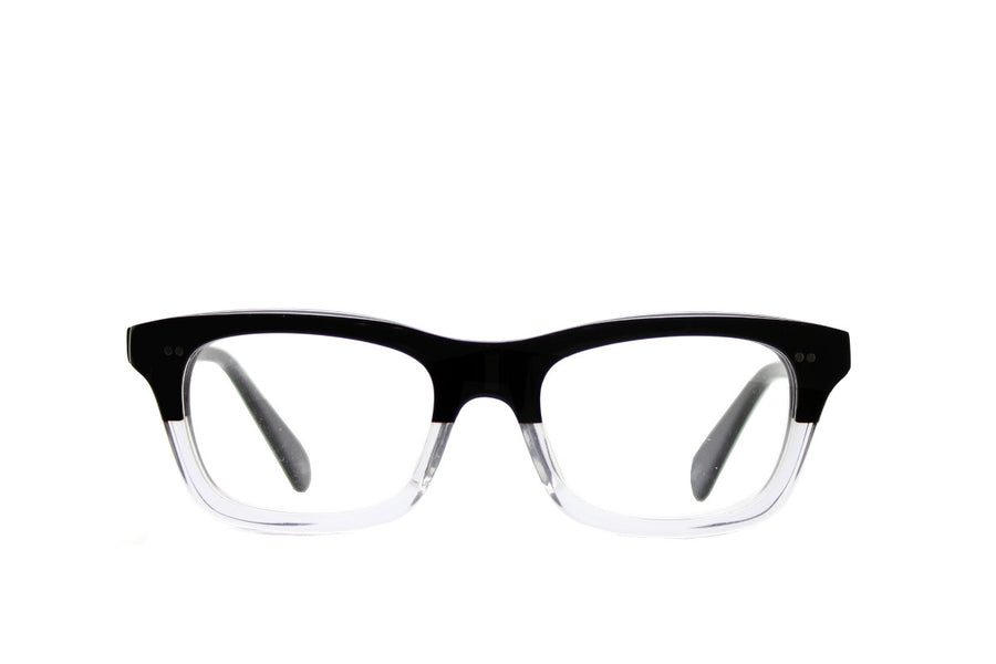 Bold black and clear geek chic acetate glasses frames by Mr Foureyes, front shot