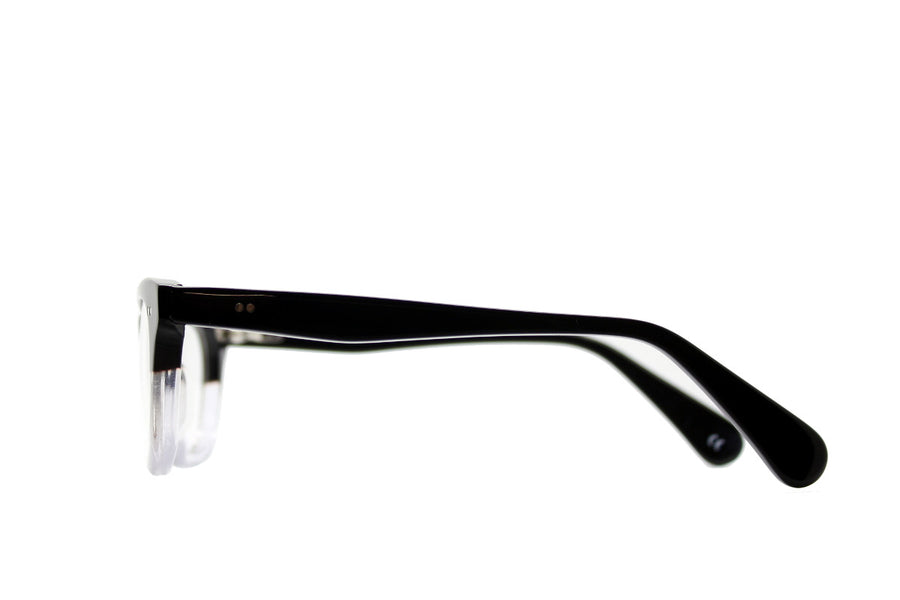 Bold black and clear geek chic acetate glasses frames by Mr Foureyes, side shot