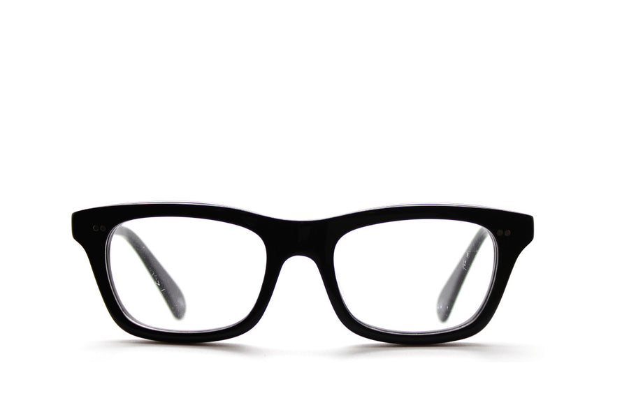 Solid black geek chic acetate glasses frames by Mr Foureyes, front shot