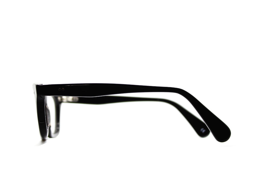 Solid black geek chic acetate glasses frames by Mr Foureyes, side shot