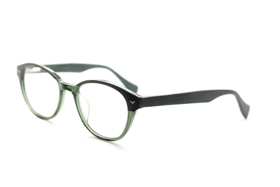 Beautiful acetate glasses frames by Mr Foureyes in green tones (Corey style), angle shot