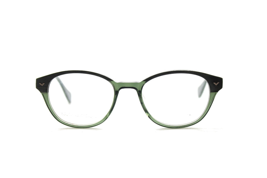 Beautiful acetate glasses frames by Mr Foureyes in green tones (Corey style), front shot
