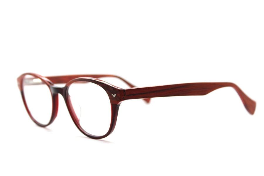 Beautiful acetate glasses frames by Mr Foureyes in peach tones (Corey style), angle shot