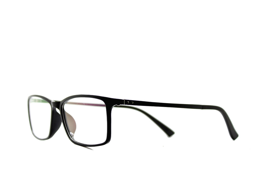 Black acetate glasses frames in a rectangular shape (Damian style) by Mr Foureyes, angle shot