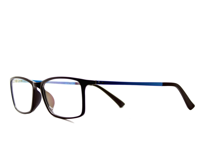 Black & blue acetate glasses frames in a rectangular shape (Damian style) by Mr Foureyes, angle shot