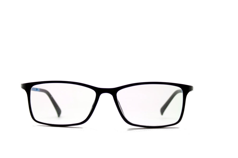 Black & blue acetate glasses frames in a rectangular shape (Damian style) by Mr Foureyes, front shot