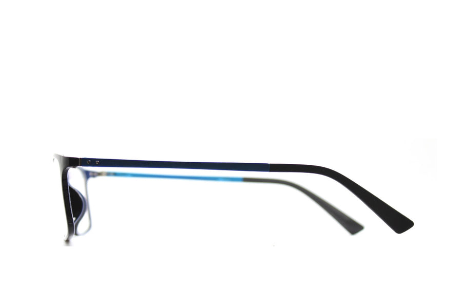 Black & blue acetate glasses frames in a rectangular shape (Damian style) by Mr Foureyes, side shot