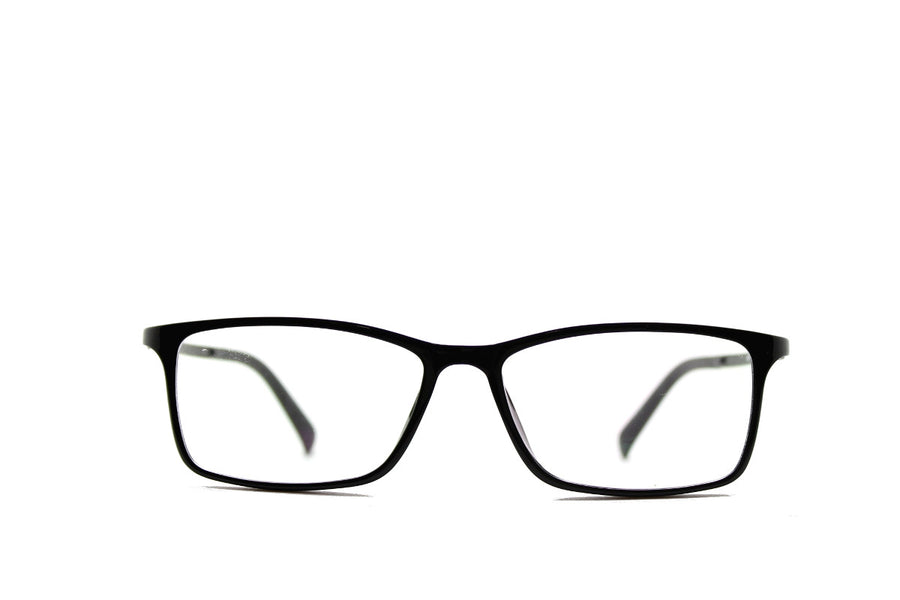 Black acetate glasses frames in a rectangular shape (Damian style) by Mr Foureyes, front shot