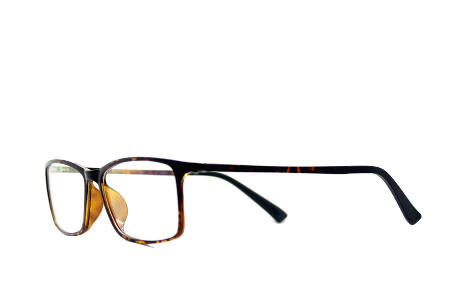 Tortoiseshell acetate glasses frames in a rectangular shape (Damian style) by Mr Foureyes, angle shot