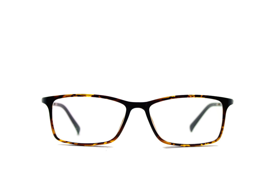 Tortoiseshell acetate glasses frames in a rectangular shape (Damian style) by Mr Foureyes, front shot