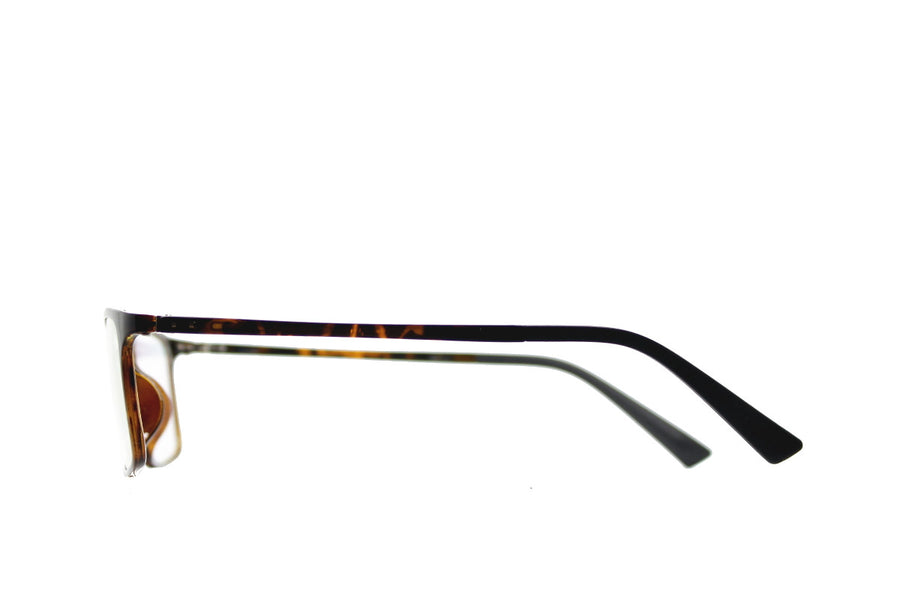 Tortoiseshell acetate glasses frames in a rectangular shape (Damian style) by Mr Foureyes, side shot