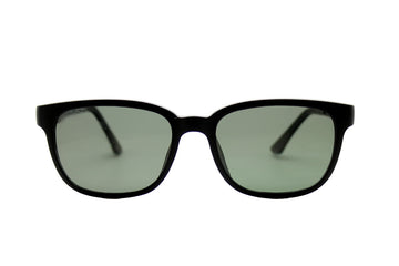 Darcy clip-on prescription sunglasses by Mr Foureyes front shot with clip-ons