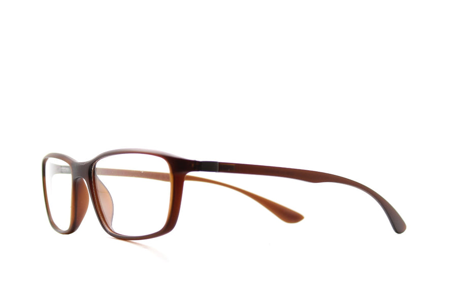 Acetate glasses frames in toffee colour by Mr Foureyes (Drew style), angle shot