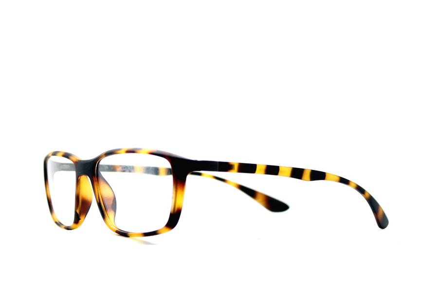 Tortoiseshell acetate glasses frames in a rectangular shape (Drew style) by Mr Foureyes, angle shot