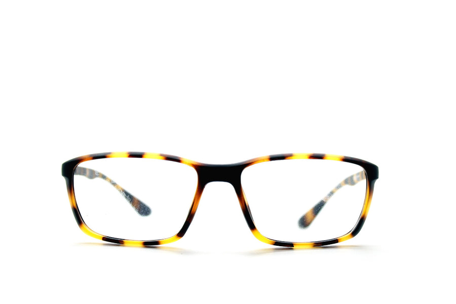 Tortoiseshell acetate glasses frames in a rectangular shape (Drew style) by Mr Foureyes, front shot