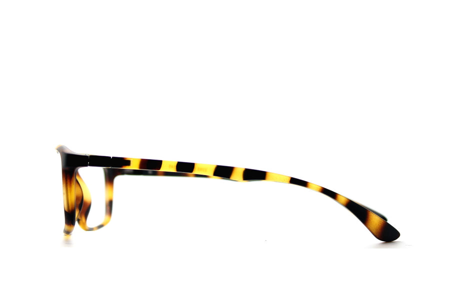 Tortoiseshell acetate glasses frames in a rectangular shape (Drew style) by Mr Foureyes, side shot