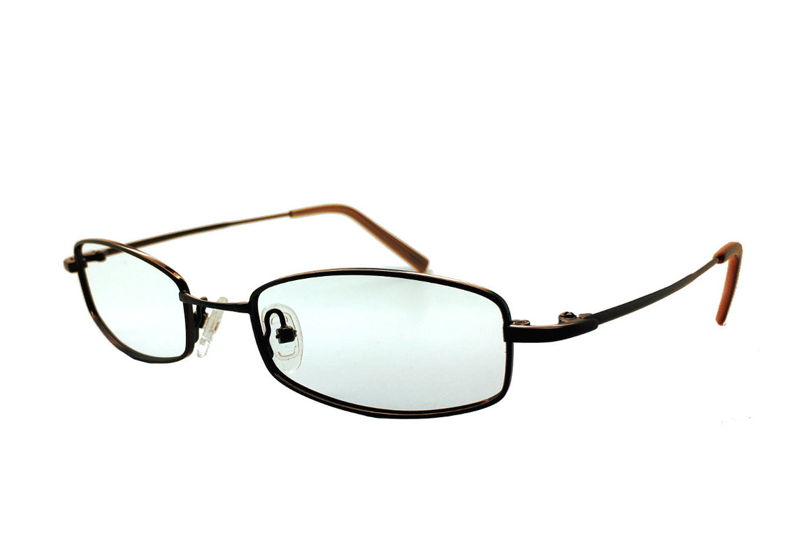 Finn children's glasses frames by Mr Foureyes in brown metal, front shot