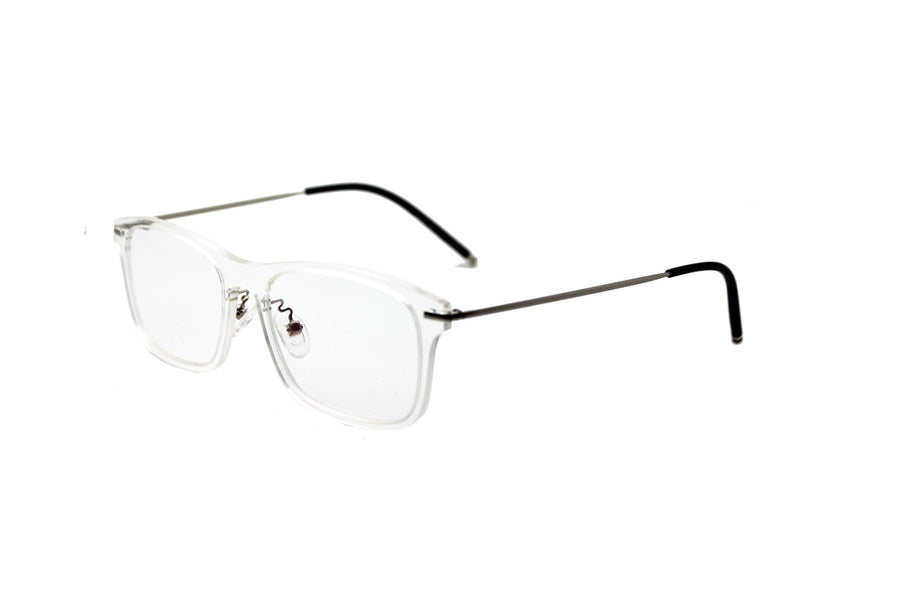 Striking metal & clear acetate frame by Mr Foureyes (Frankie style, angle shot)