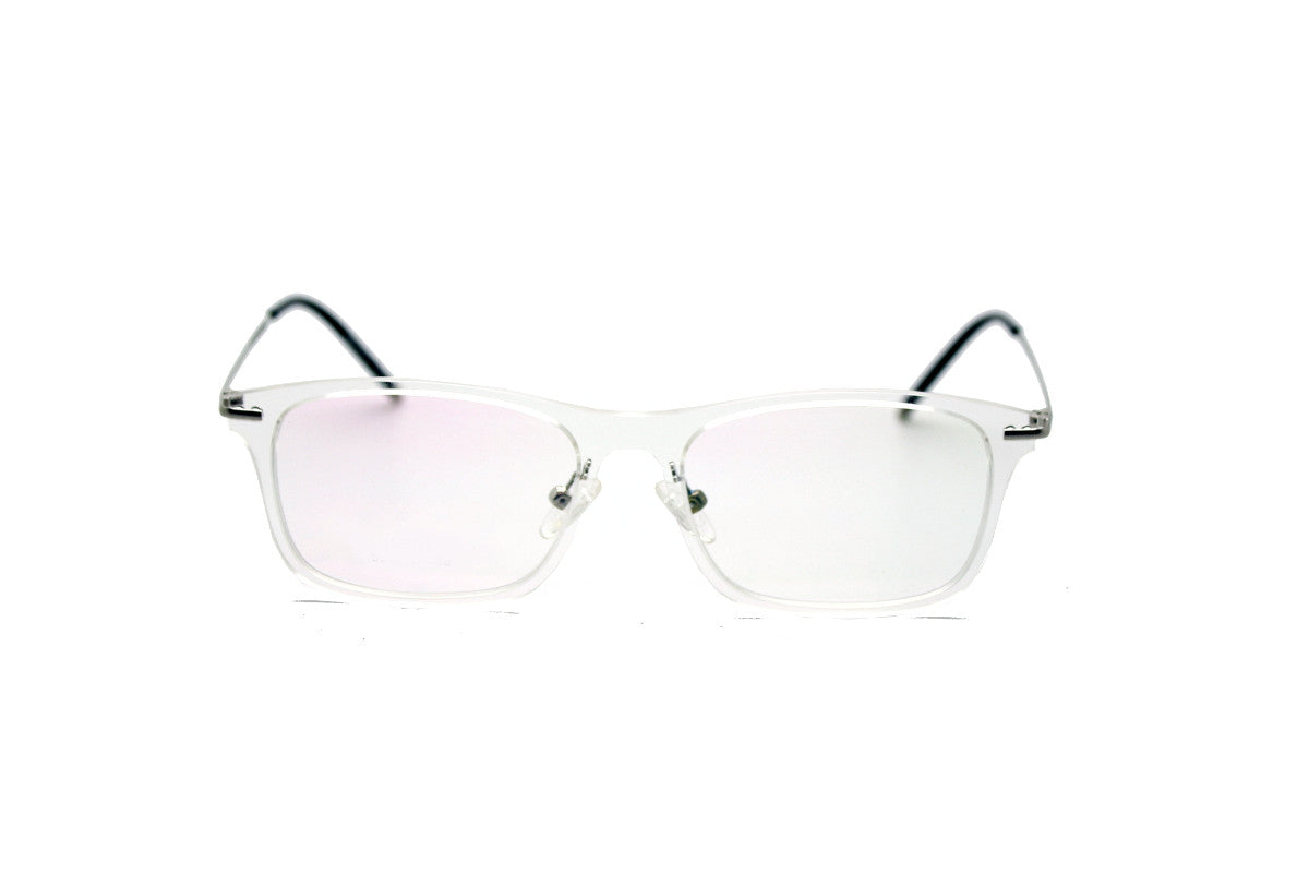striking metal clear acetate frame by mr foureyes frankie style front shot - White Glasses Frames