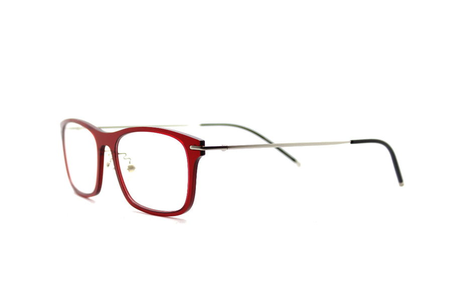 Colorful crimson metal & acetate frame by Mr Foureyes (Frankie style, angle shot)