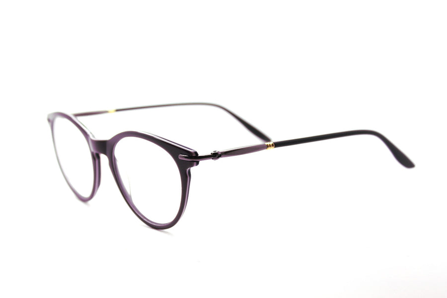 Bold aubergine-coloured metal glasses frames by Mr Foureyes (Luca style, angle shot)