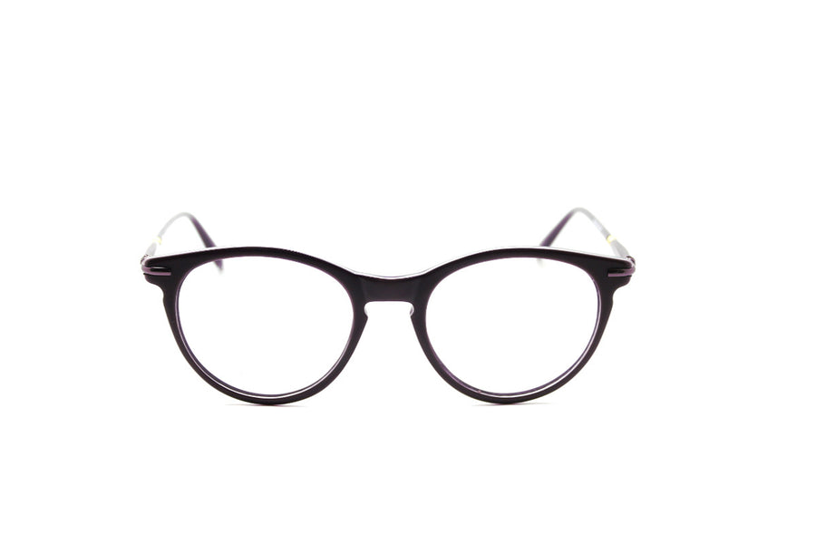 Bold aubergine-coloured metal glasses frames by Mr Foureyes (Luca style, front shot)
