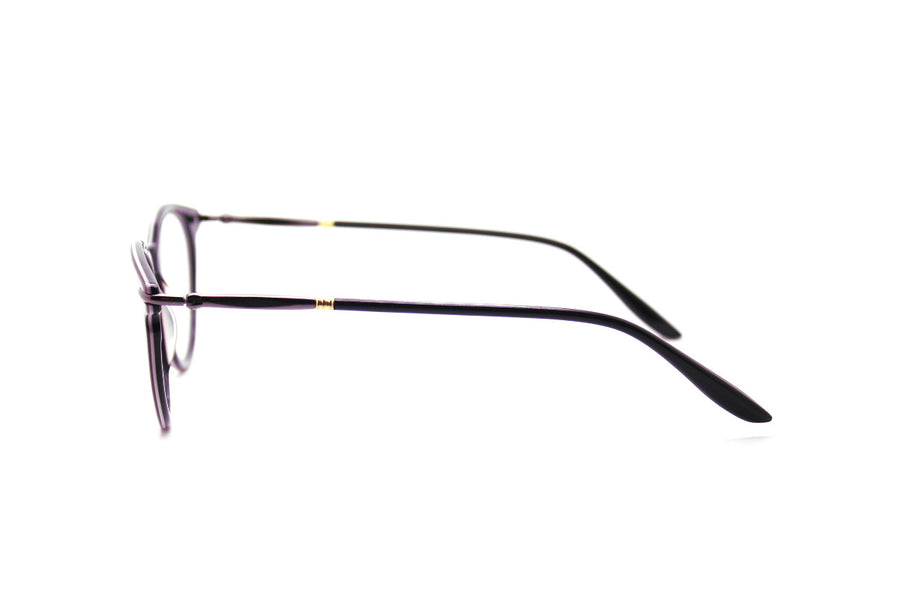 Bold aubergine-coloured metal glasses frames by Mr Foureyes (Luca style, side shot)
