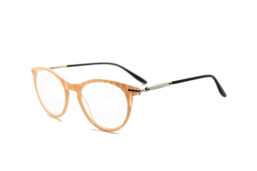 Bold cream-coloured metal glasses frames by Mr Foureyes (Luca style, angle shot)