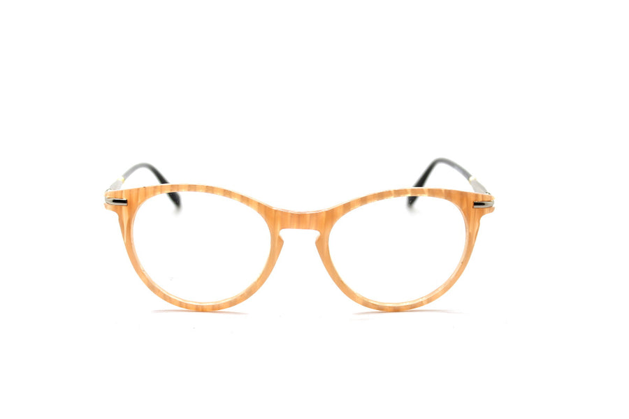Bold cream-coloured metal glasses frames by Mr Foureyes (Luca style, front shot)