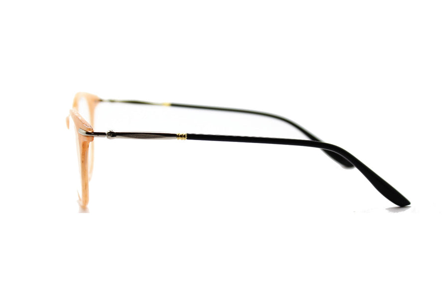 Bold cream-coloured metal glasses frames by Mr Foureyes (Luca style, side shot)
