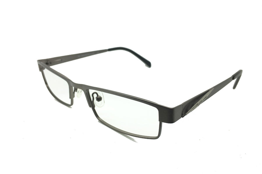 Metal children's glasses frames by Mr Foureyes (Marshall style in gunmetal grey, angle shot)