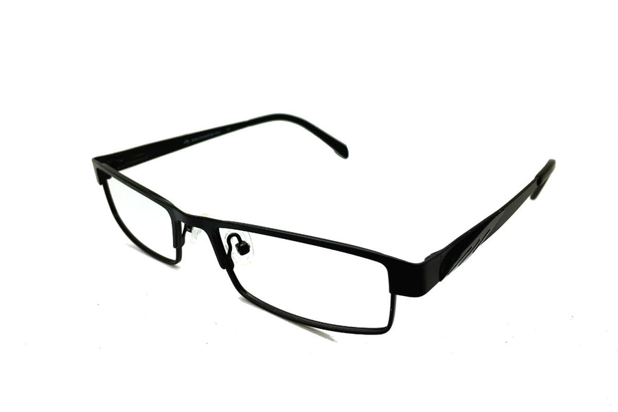 Metal children's glasses frames by Mr Foureyes (Marshall style in black, angle shot)