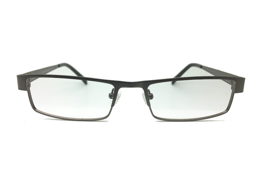 Metal children's glasses frames by Mr Foureyes (Marshall style in gunmetal grey, front shot)