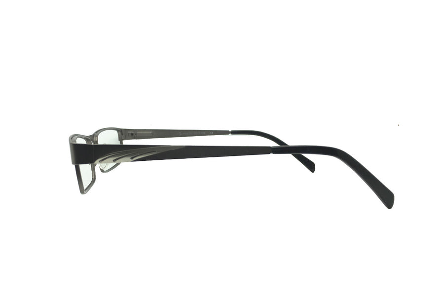 Metal children's glasses frames by Mr Foureyes (Marshall style in gunmetal grey, side shot)
