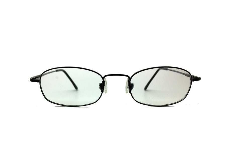 Metal children's glasses frames by Mr Foureyes (Morgan style in black, front shot)