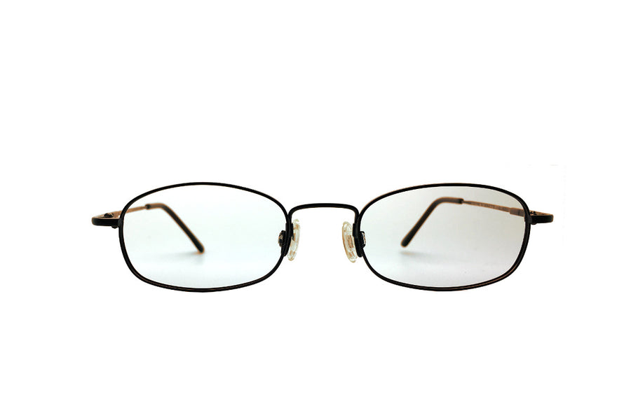 Metal children's glasses frames by Mr Foureyes (Morgan style in brown, front shot)