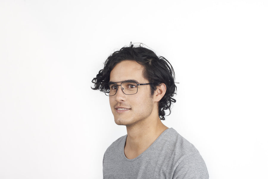 Model wearing Romano glasses frames in black | Mr Foureyes prescription glasses online
