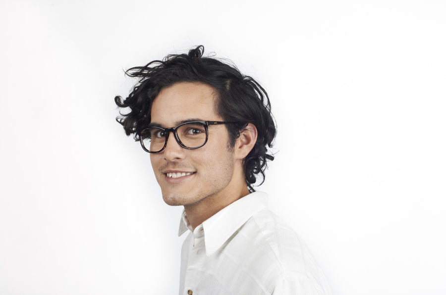 Model wearing Jess glasses frames | Mr Foureyes prescription glasses online