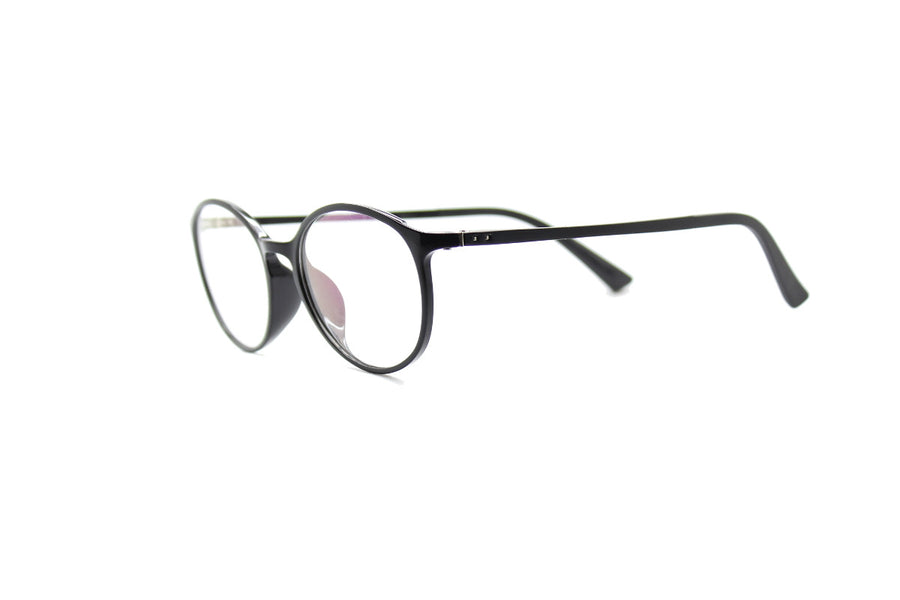 Round acetate frames with keyhole detail by Mr Foureyes (Oliver style, black, angle shot)