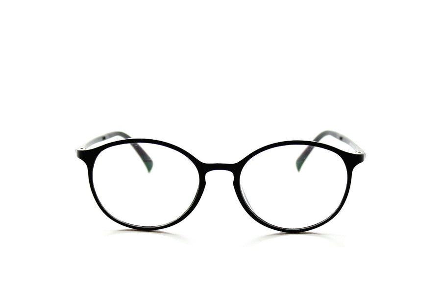 Round acetate frames with keyhole detail by Mr Foureyes (Oliver style, black, front shot)