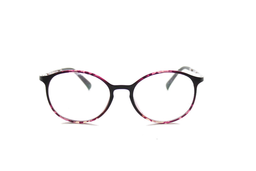 Round acetate frames with keyhole detail by Mr Foureyes (Oliver style, purple tortoiseshell, front shot)