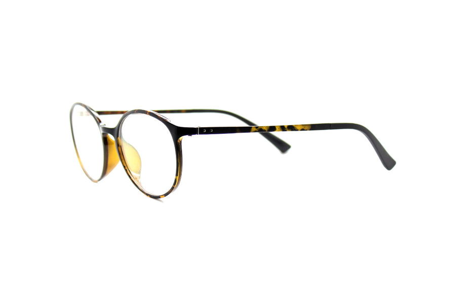 Round acetate frames with keyhole detail by Mr Foureyes (Oliver style, tortoiseshell, angle shot)