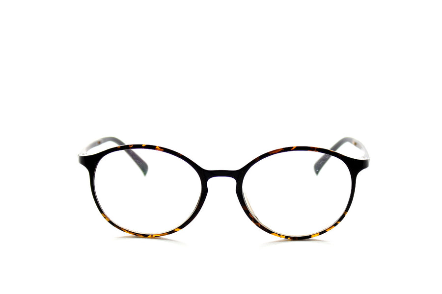 Round acetate frames with keyhole detail by Mr Foureyes (Oliver style, tortoiseshell, front shot)