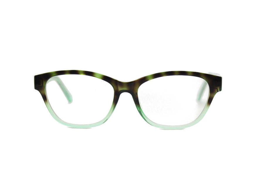 Cute & colourful acetate glasses frames by Mr Foureyes (Olivia style, green colour, front shot)