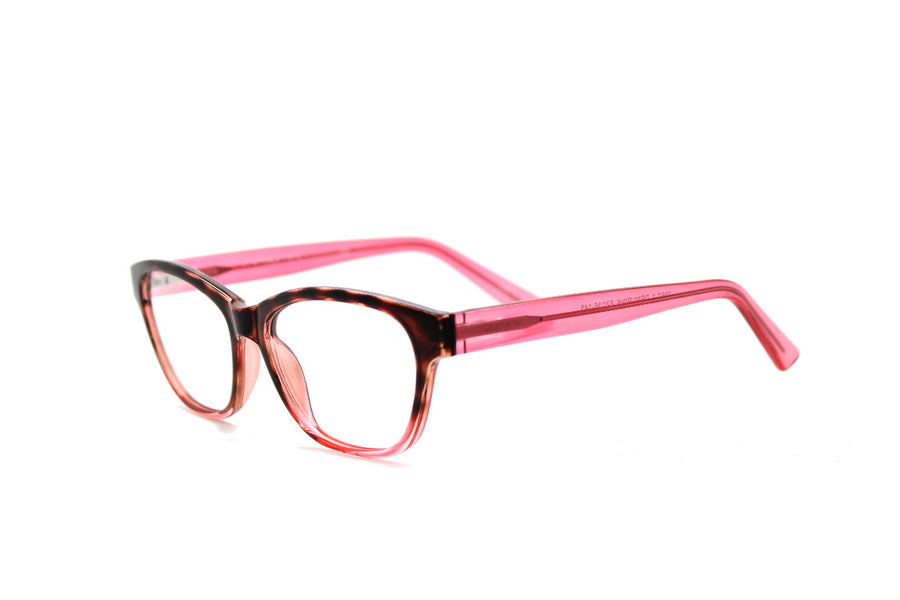 Cute & colourful acetate glasses frames by Mr Foureyes (Olivia style, pink/rose colour, angle shot)
