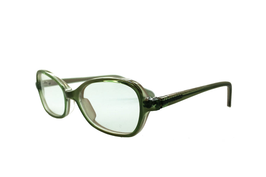 Green acetate children's glasses frames by Mr Foureyes, Oscar style, angle shot